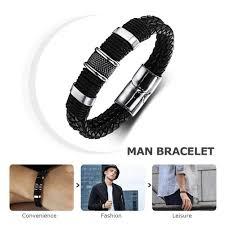 man hand bracelet images Wide mens weave chain wristband leather bracelet for men classic jpg