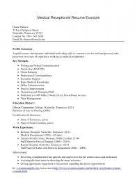 Front Desk Cv Sample Resume For Medical Front Office Resume Template Example