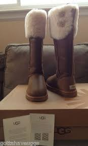 womens ugg boots chestnut ugg australia the knee bailey button chestnut sherling boots