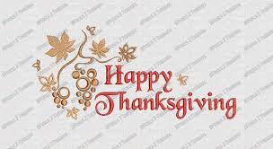 happy thanksgiving fancy script embroidery design in 4x4 and 5x7