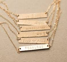 engraved necklaces for customized hammered name bar necklace personalized bar necklace