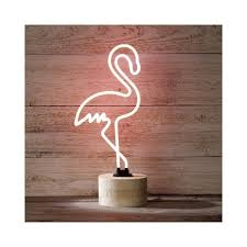 Neon Desk Lamp Neon Pink Flamingo Standing Table Lamp With Wood Base Bar Lighting