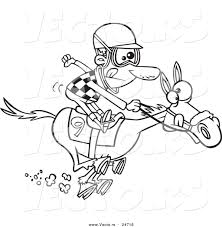 vector of a cartoon jockey man racing a horse outlined coloring