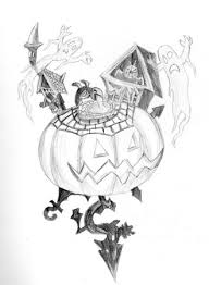 halloween craft clipart sketch drawing printable card
