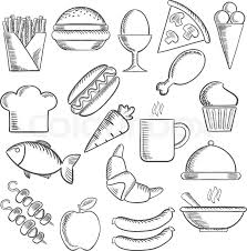 food snacks and drinks sketch icons with pizza sausages burger