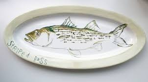 personalized serving platter ceramic made striped bass platter green fish serving tray wall