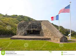 French And American Flags German Bunker Omaha Beach American And French Flags Stock Photo