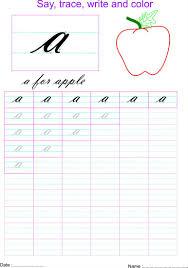 cursive small letter u0027a u0027 worksheet