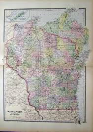Wisconsin Map by Prints Old U0026 Rare Wisconsin Page