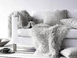 fur throws for sofas dove gray home decor modern white sofa with grey faux fur