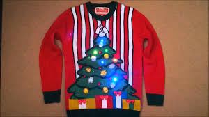 ugly christmas sweaters that light up and sing led lighted christmas jumper sweater with flashing lights youtube