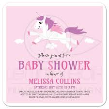 cute unicorn baby shower invitation pink and purple for girls