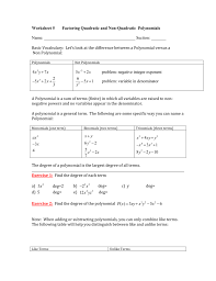 worksheet 5 factoring quadratic and non
