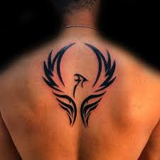 mens upper back phoenix wings tattoo design projects to try