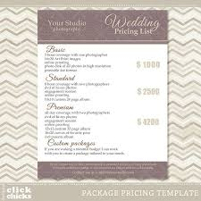 wedding album prices package pricing list template wedding packages
