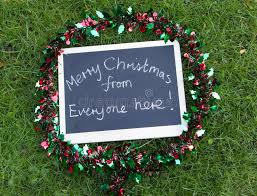 merry from everyone here message stock photo image of