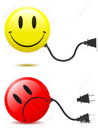 happy and unhappy smiley face with connector plug royalty free
