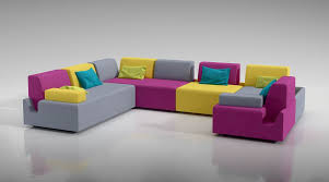 Couch Sofa Difference Modular Sofa In Different Colors Purple Grey And Yellow 3d Model Obj