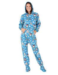 winter hoodie one hooded footed pajamas