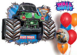 grave digger monster truck party supplies amazon com monster jam room decor wall burst toys u0026 games