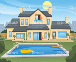 House With Pool Family House With Pool Stock Vector Art 497421138 Istock