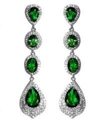 Cubic Zirconia Chandelier Earrings Chloey Emerald Green Linear Chandelier Earrings Cubic