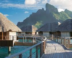 bora bora resorts with overwater bungalows wallpaper