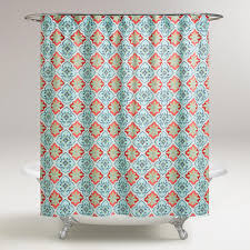 Teal Bathroom Decor by In Coral Aqua And Blue Our Shower Curtain Lends Cool Toned