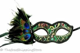 green mardi gras mask green masquerade mardigras mask peacock feathers