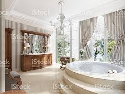 bathroom in luxury neoclassical style with sinks tubs stock photo
