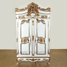 Armoires Wardrobe Hand Made 8ft Tall Solid Mahogany White Gold French Armoire