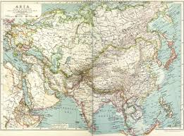 Asia Map by Colorful U0026 Vintage Asia Map