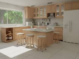 fancy kitchen decorating ideas with white ceramic floor and bright
