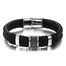 leather stainless steel bracelet images Double braided leather bracelet stainless steel clasp jpg