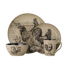 amazon com pfaltzgraff homespun rooster 16 piece dinnerware set