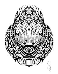 polynesian tribal design with a tiger by jsharts on