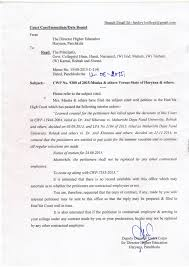 Confirmation Letter Of A Meeting Appointment Or Interview Department Of Higher Education Haryana