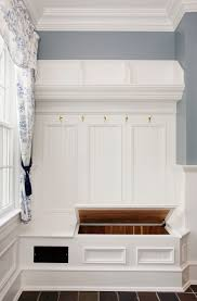 hall tree storage bench entry traditional with beadboard bench