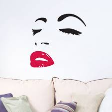 amazon com women s face star decor face red lips sticker amazon com women s face star decor face red lips sticker removable wall stickers wall decor home decor wall art bedroom living room sofa tv background diy