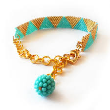 bracelet with beads images Emma bracelet triangle bracelet with gold and blue glass beads jpg