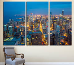 chicago wall art etsy chicago city skyline art canvas print 3 panel split triptych cityscape aerial photography