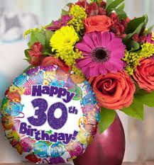 30th birthday flowers and balloon available for uk wide delivery