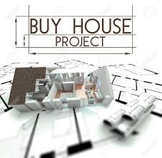 buy blueprints buy house project slogan with render of building on blueprints stock