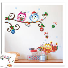 christmas owls scroll tree branch wall decal