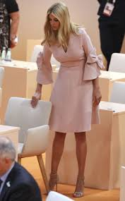 ivanka today at g20 plunging pink bow dress sandals pics