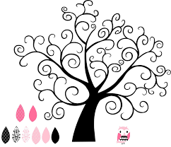 pink and black curly girly tree wall saying vinyl lettering home