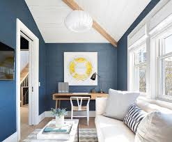 home office with tv white and blue home office with white sofa contemporary den