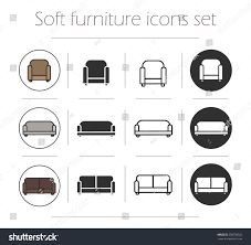 soft furnishing icons set chair sofa stock vector 300790022