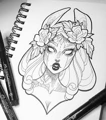 coloring beautiful drawings witches tattoo sketches