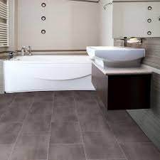 modern minimalist bathroom design with black vinyl floor tiles and